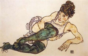 Schiele, Egon - Raclining Woman With Green Stockings
