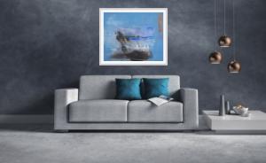 Abstrakter Kunstdruck in modernem Wohnzimmer