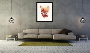 Kunstdruck mit Fuchsmotiv von Farkas in schlichtem Rahmen zu modernem Sofa