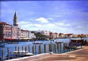 Original Ölgemälde von Lucia Sarto - Venedig mit Markuskirche