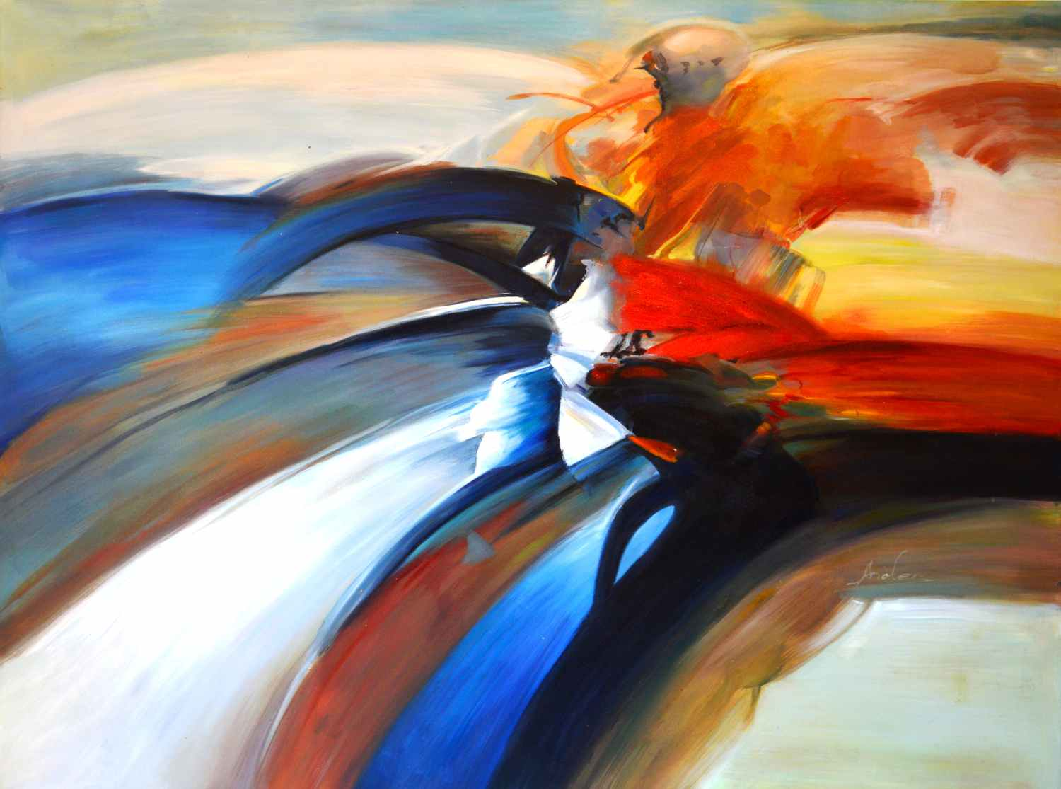 Abstraction Wasserfall von Long120 x 90cm