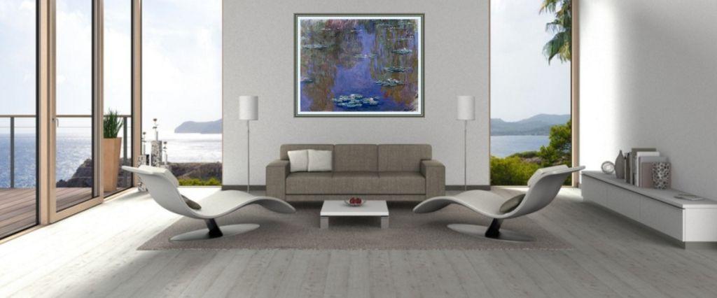 Monet bild über sofa