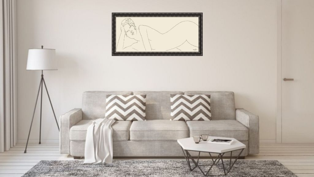 modigliani bild über sofa