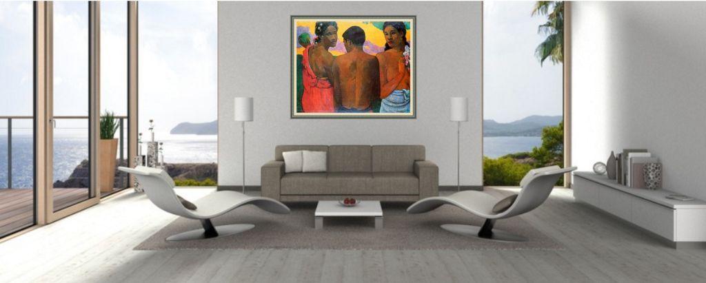 gauguin bild über sofa