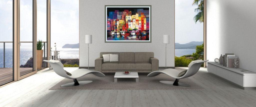 kunstdruck über sofa