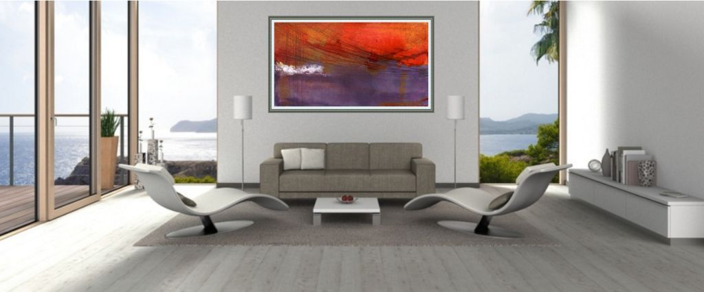 abstraktes bild über sofa