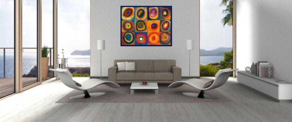 expressionistisches Leinwandbild über sofa
