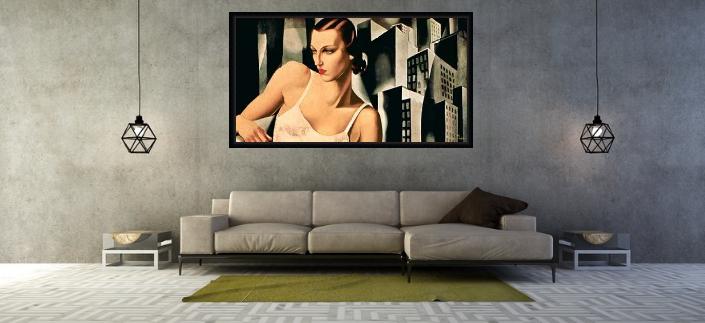 art deco bild über sofa
