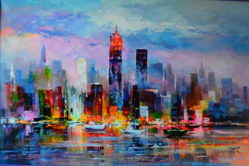 konfigurieren des Kunstwerks Skyline in New York von Haenraets Willem